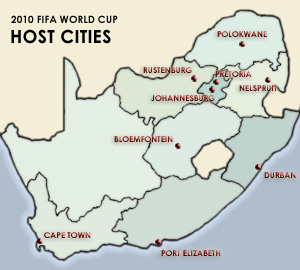2010 Fifa World Cup: host cities